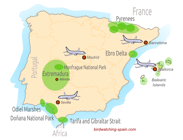 Birding in Spain Map. Where to go